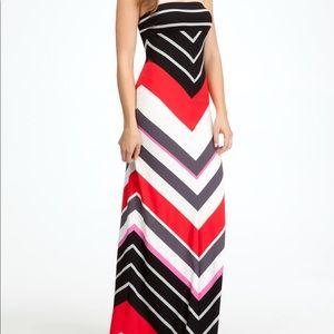 Bebe Off Shoulders Chevron Stripe Red Maxi Dress